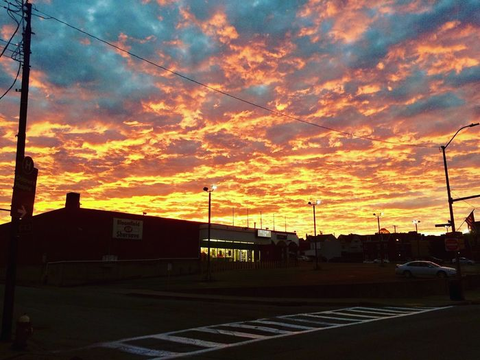 Sunset Cloud - Sky Sky Street Silhouette Orange Color Road Nature City Architecture No People Building Exterior Dramatic Sky Beauty In Nature