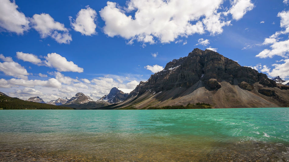 Bow Lake and Crowfoot Mountain, in Banff National Park Banff National Park  Beauty In Nature Bow Lake Canada Cloud - Sky Crawfoot Mountain Idyllic Lake Mountain Nature Scenics Sky Tranquil Scene Tranquility Water