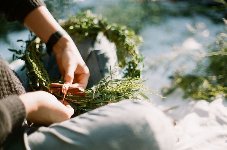 Adult Adults Only Christmas Christmas Decoration Close-up Day DIY Film Photography Flower Human Body Part Human Hand Nature One Person Outdoors People Real People Women Wreath