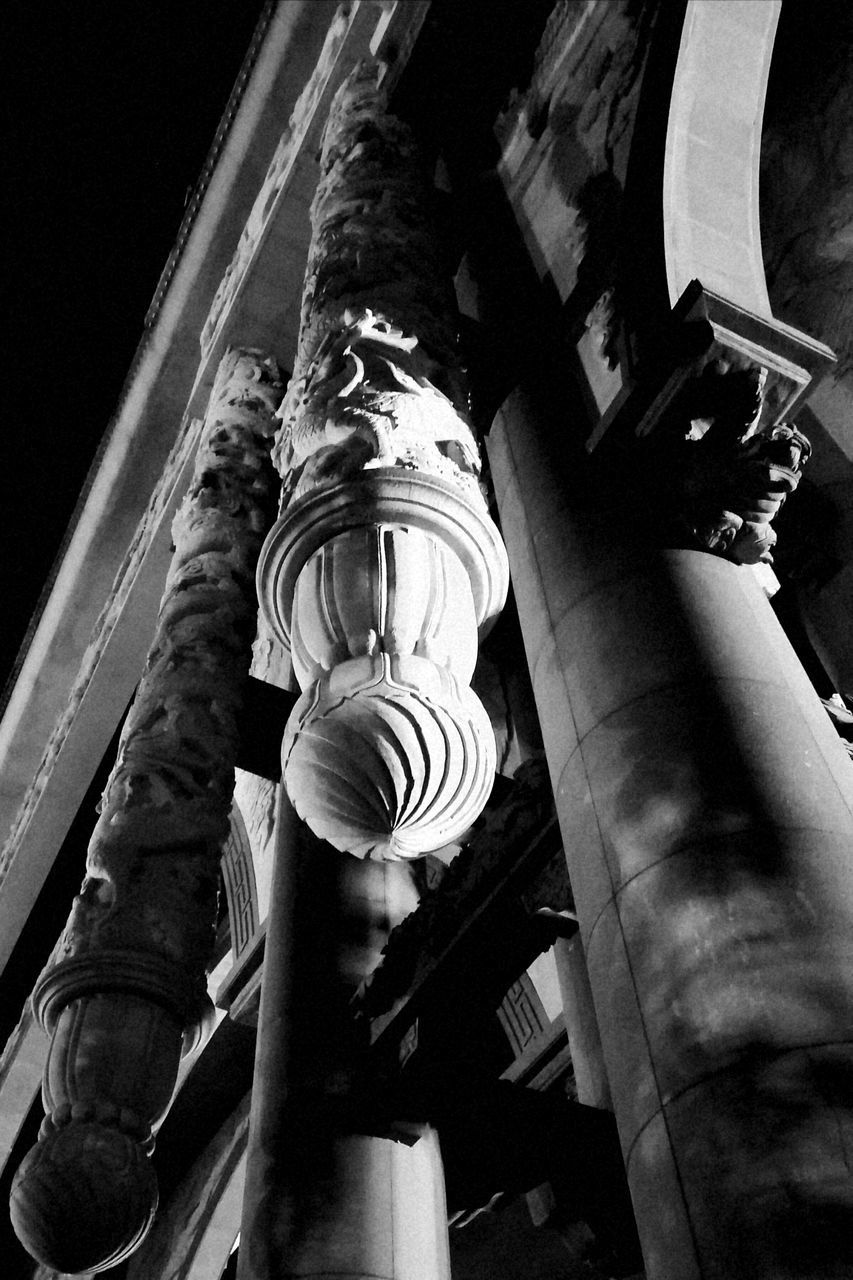 low angle view, built structure, architecture, architectural column, no people, history, close-up, sculpture, statue, building exterior, indoors, day
