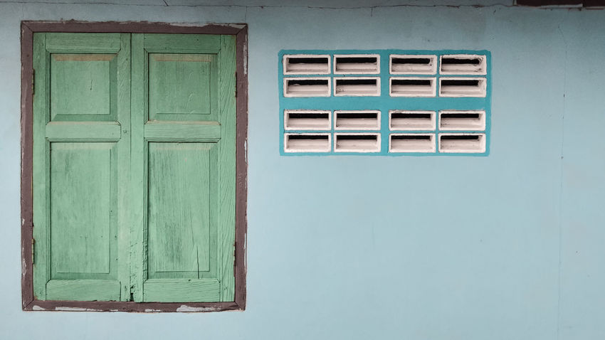 green wood windows and blue local house Local Retro Blue House Local Town Old House Vintage Window Country House Rectangle Closed Residential Building Exterior Residential Structure Window Box Residential District