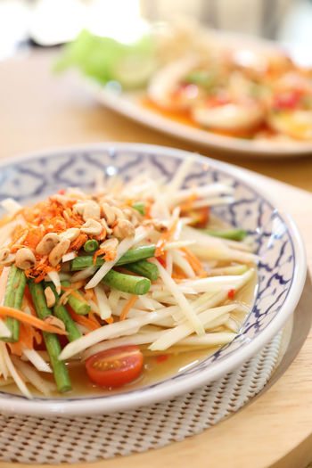 Spicy Food Asian Food Thai Food Papaya Salad Somtum Thai Somtum Food And Drink Food Ready-to-eat Healthy Eating Freshness Serving Size Vegetable Meal