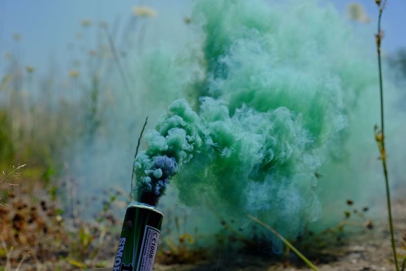 green smoke Smoke Focus On Foreground Day Smoke - Physical Structure Plant Nature No People Close-up Outdoors Land Green Color