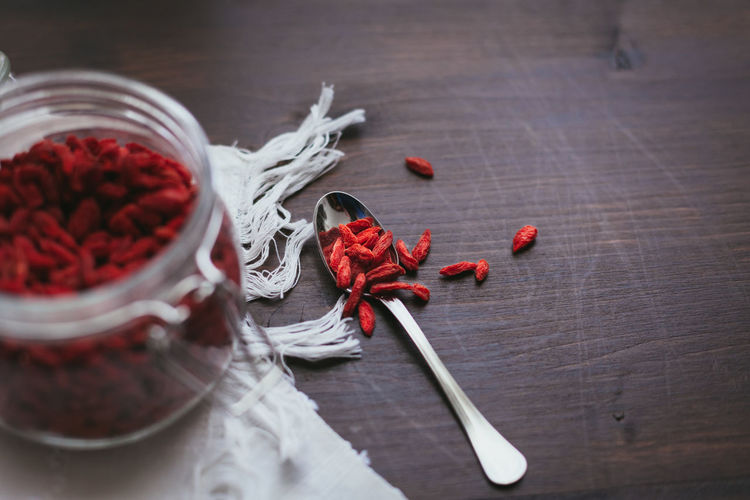 Close-up Day Food Food And Drink Freshness Goji Gojiberries Healthy Indoors  No People Red Table