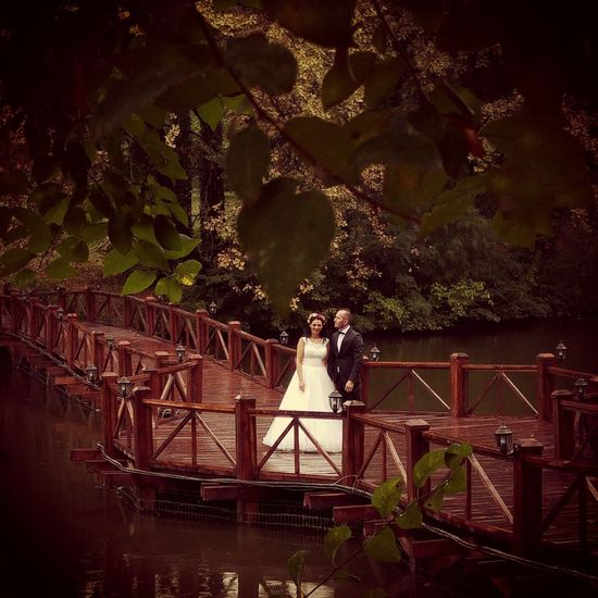 Weeding Bride And Groom Nature Outdoors Autumn Lake Bridge