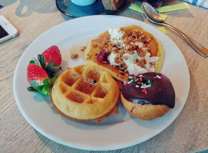 Anything you want! Food Ready-to-eat Freshness Plate Food And Drink Table Temptation Serving Size No People Indoors  Close-up Tart - Dessert Breakfast Waffle Pancakes Fruit Strawberry Granola Donuts Marco Island EyeEmNewHere