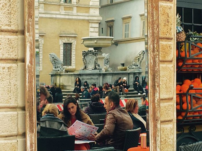 Roma Rome People People Photography Peoplephotography Mirror Mirrored Mirror Reflection Mirror Picture Piazza Santa Maria In Trastevere Bar People Upclose Street Photography