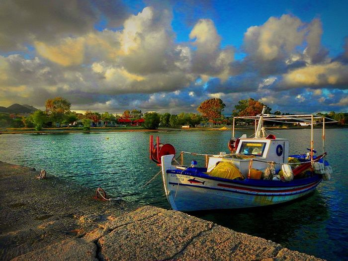 Love Boat _. Greece Methoni Fishingboat Loveboat Summeriscoming colour of life Nautical Vessel Cloud - Sky Water Transportation Sky Mode Of Transport Moored Scenics