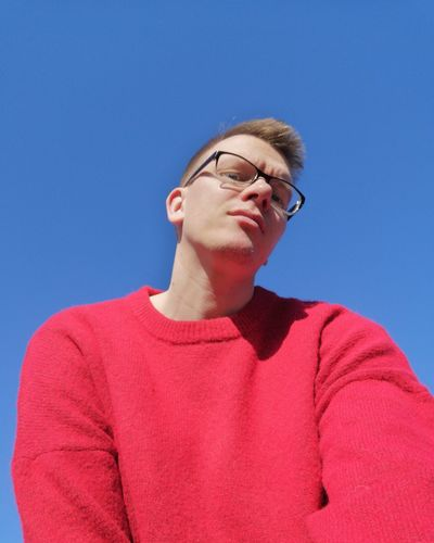 Gay Gaymen Gayselfie Eyeglasses  Clear Sky Blue Headshot Portrait Eyes Closed  Sweater Sky Sweatshirt Horn Rimmed Glasses Unfashionable Stereotypical Thoughtful