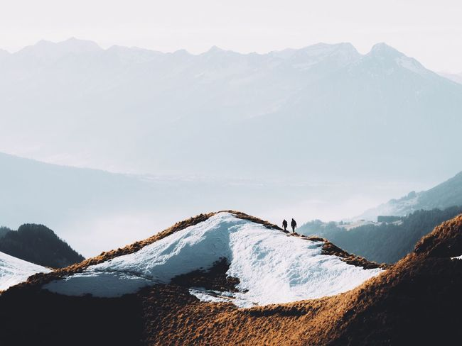 Mountain Snow Mountain Range Cold Temperature Winter Beauty In Nature Nature Tranquility Tranquil Scene Outdoors Landscape Scenics Day Sky People Switzerland Travel Wanderlust The Great Outdoors - 2017 EyeEm Awards