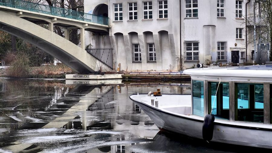 Ice Spree Winter Architecture Berliner Ansichten Building Exterior Built Structure Day Mode Of Transport Moored Nature Nautical Vessel No People Outdoors Refelction In Ice Transportation Water Winter Shades Of Winter Mobility In Mega Cities #FREIHEITBERLIN The Traveler - 2018 EyeEm Awards