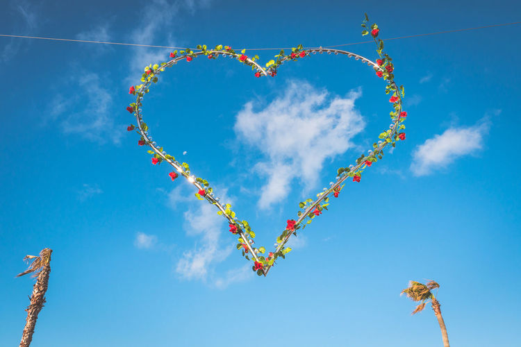 Sky Cloud - Sky Heart Shape Blue Creativity Multi Colored Nature Decoration Low Angle View No People Art And Craft Shape Day Celebration Positive Emotion Emotion Love Sunlight Outdoors Craft Blue Background