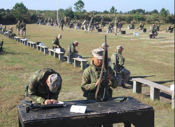 U.S Marine Recruits perform weapons training at Parris Island USA Us Military USMC Parris Island