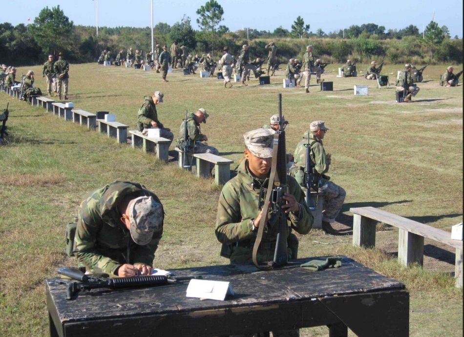 U.S Marine Recruits perform weapons training at Parris Island USA Us Military USMC Parris Island