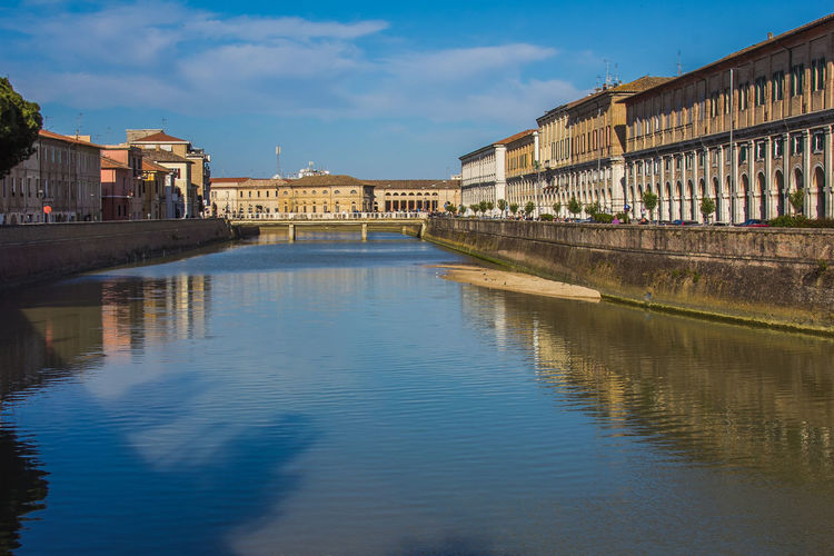 Panoramic view of the historic center of Senigallia city and the river Misa City Historic Center Architecture Blue Building Exterior Buildings Built Structure Fiume Misa Landmark Ltaly Marche Misa Reflection Sea Senigallia Sky Travel Destinations Water Waterfront