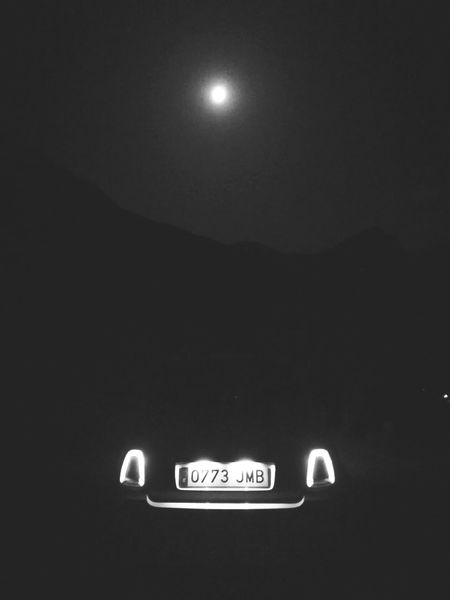 Fiat500c Cabrio Night Moon Masca, Tenerife Illuminated Red Nightlife No People Neon Outdoors Road Sign Black Background Sky