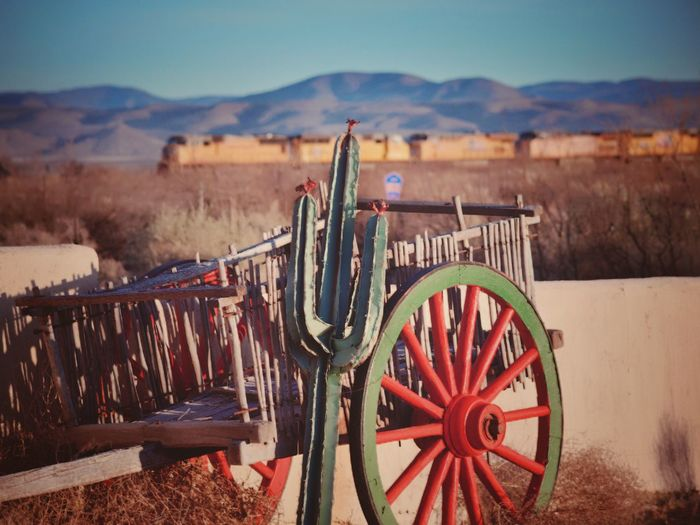 The old West Mode Of Transport Scenics No People Outdoors Mountain Day Landscape Cart Wood - Material Sky Nature Train Cactus Mountain Peak New Mexico Travel Destinations Flowering Cactus