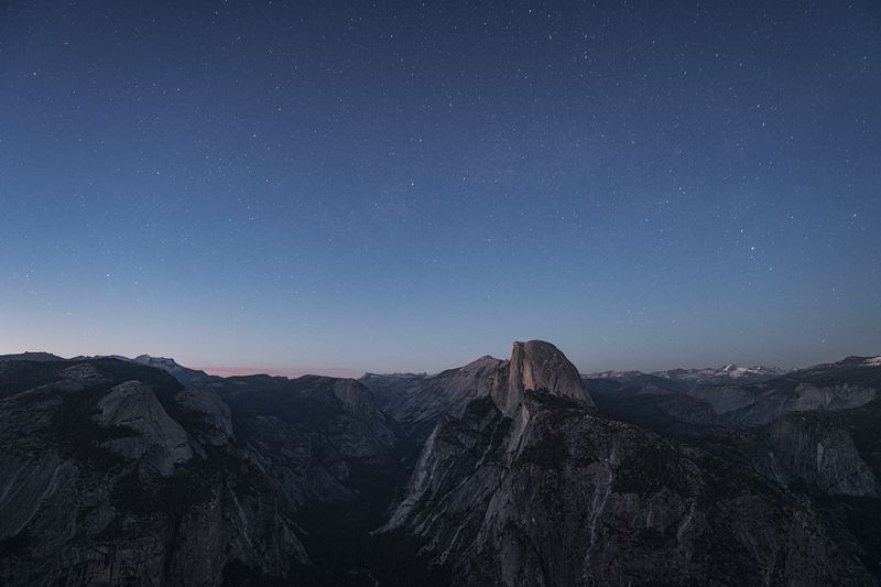 Blue hour, Half Dome. I usually end up hanging around here for several hours at the end of a day. I can't get enough of the view from the top. Star - Space Night Mountain Astronomy Scenics Beauty In Nature Nature Rock - Object Tranquility Outdoors No People Galaxy Mountain Range Sky Space Tranquil Scene Milky Way Constellation Physical Geography Travel Destinations