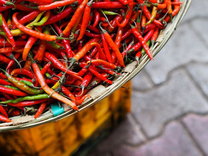High Angle View Of Red Chilies In Basket