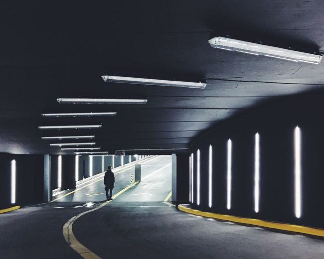 Man In Parking Garage Tunnel
