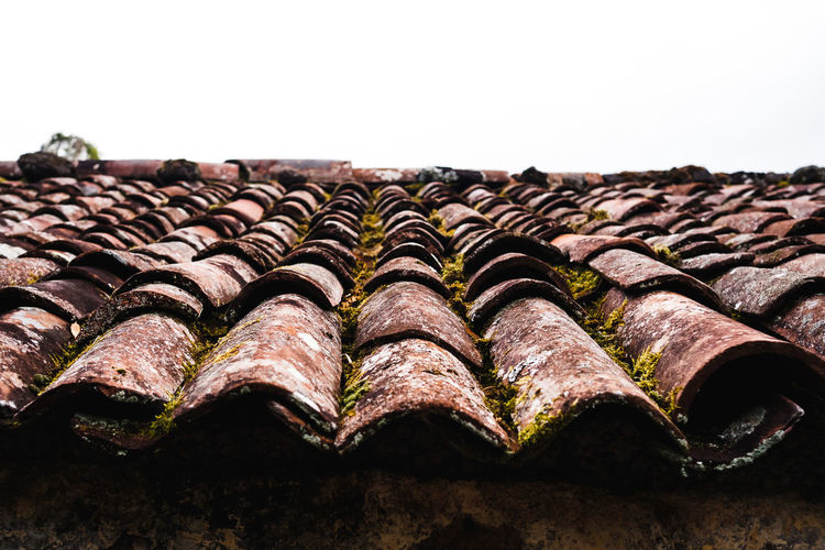 Close-up of old roof tiles against building