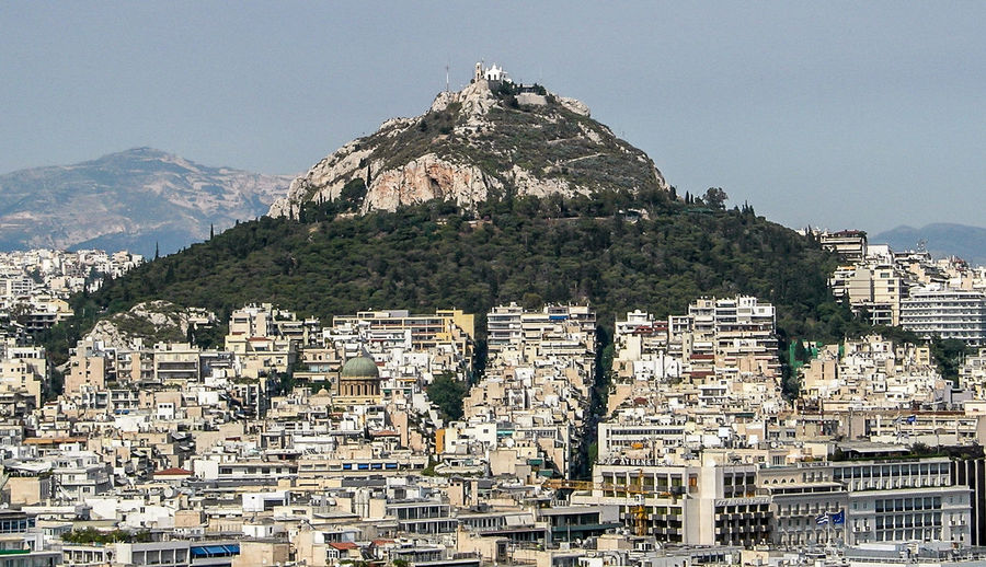 View of residential buildings in athens