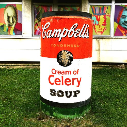 Text Grass Day Outdoors Communication No People Soup Museum Of Modern Art Andy Warhol