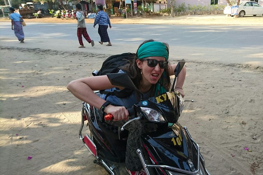 Got our e-bike and ready to rock the temples Silvia In Myanmar