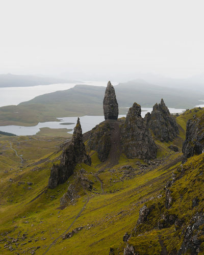 Old Man of Storr, Isle of Skye Sky Beauty In Nature Scenics - Nature Tranquil Scene Tranquility Nature Rock Day Non-urban Scene No People Environment Landscape Solid Mountain Rock - Object Land Idyllic Rock Formation Green Color Cloud - Sky Mountain Peak