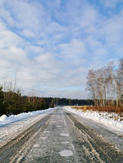Road by trees against sky during winter