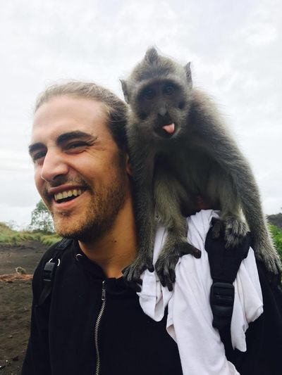 Monkey Smiling Togetherness Happiness Men Portrait Friendship Cheerful Fun Sky The Modern Professional