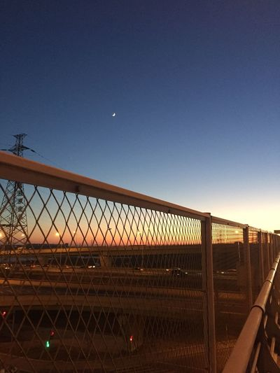 Sky Moon Fence Nature Chainlink Fence Barrier Boundary No People Clear Sky Night Dusk Safety Architecture Security Connection Built Structure Outdoors Copy Space Space Protection