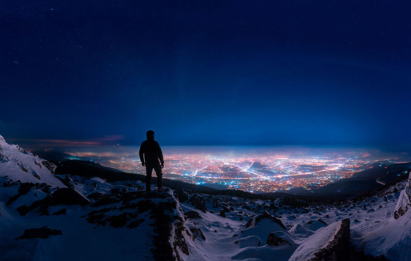 Cold winter night in the mountain above Sofia Capture Tomorrow One Person Sky Snow Winter Scenics - Nature Cold Temperature Standing Silhouette Outdoors Cityscape Citylights Nisghtshot Panorama Night Night Lights Stars Nightsky Mountain Rocks First Eyeem Photo