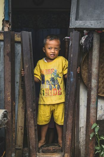 Childhood One Person Portrait Looking At Camera Front View People Baby Child Full Length Casual Clothing Happiness Cute One Boy Only Standing Day Smiling Boys Real People Outdoors Adult Paint The Town Yellow EyeEmNewHere