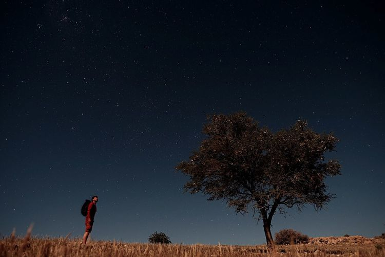 Man standing by tree against star field