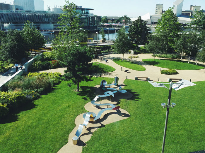 The Blue Peter Garden at MediaCityUK is as lush as ever. Architecture Blue Peter Blue Peter Garden City City Life Colour Of Life Lush Foliage Outdoors Tourism Travel Destinations