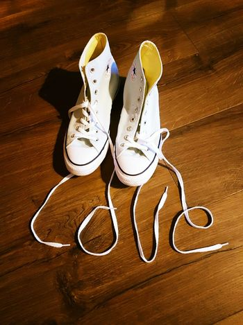Shoe High Angle View Close-up Love ♥ No People Converse Trainers ❤ Laces Spelling Pair Studio Shot Day
