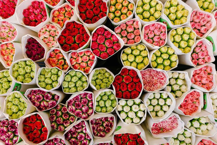 Full frame shot of multi colored fruits for sale in market