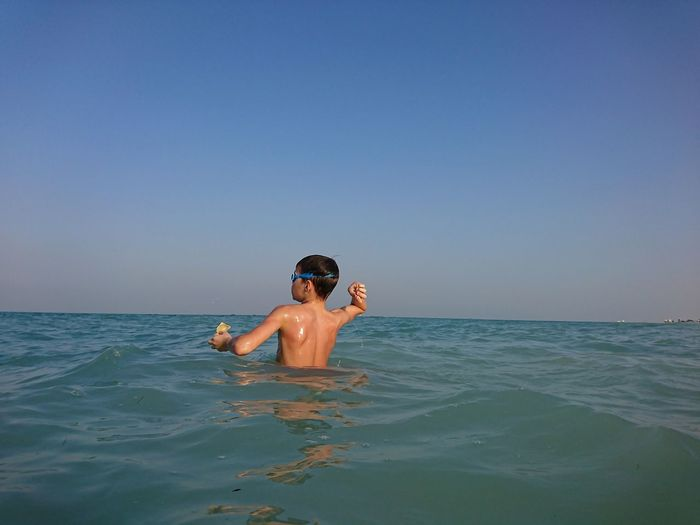 Qatar XPERIA Swimming Time Seaside Water Swimming Sea Clear Sky Beach Portrait Summer Boys Snorkeling Smiling