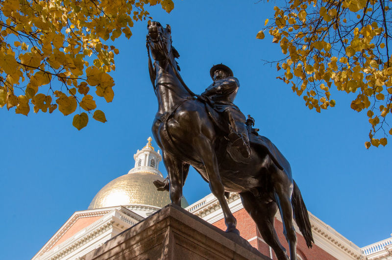 Boston, Massachusetts Massachusetts State House Travel Photography Architecture Built Structure Creativity Day Horse Human Representation Indian Summer Low Angle View Male Likeness Nature No People Outdoors Representation Sculpture Sky Statue The Past Travel Destinations Tree