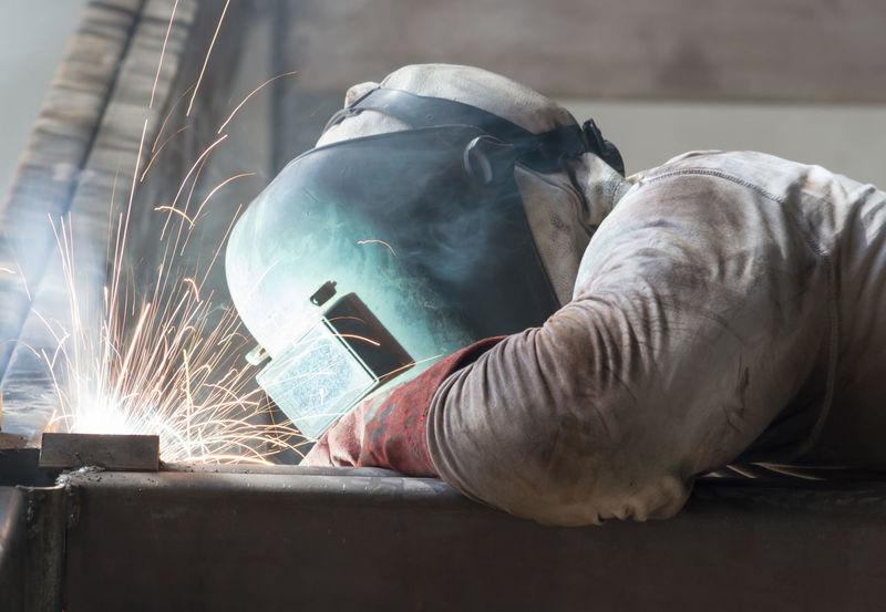 Welding Metal Industry Occupation Real People Welder Welder At Work Welder Man Welds Working Fresh On Market 2017