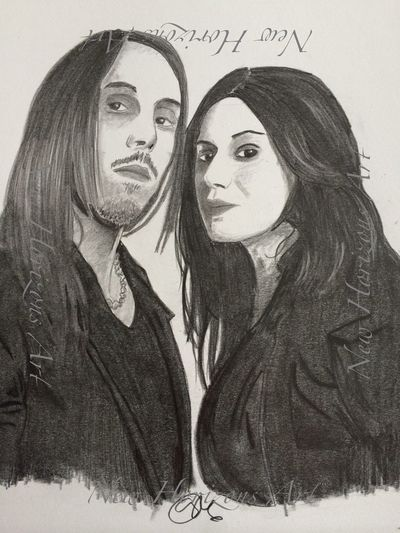 Andrea Ferro and Cristina Scabbia, vocalists in Lacuna Coil. Check em out, they're awesome! Art #illustration #drawing #draw #tagsforlikes #picture #photography #artist #sketch #sketchbook #paper #pen #pencil #artsy #in Myartwork Pencil Drawing