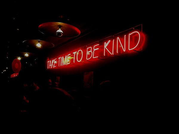 """""""Take time to be kind"""" Night Illuminated Text Red Communication Neon Outdoors No People"""