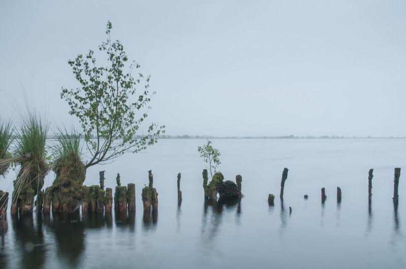 Wooden post in lake against sky