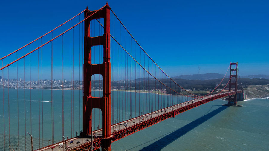 SF Architecture Bay Of Water Bridge - Man Made Structure Capital Cities  City Clear Sky Connection Famous Place Golden Gate Bridge San Francisco Suspension Bridge Tourism Travel Travel Travel Destinations Traveling