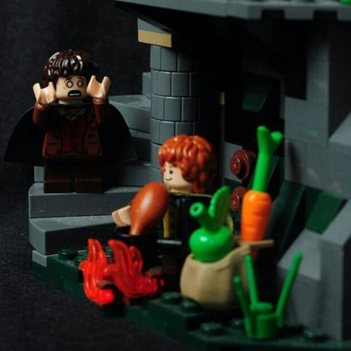 Merry preparing dinner. Much to frodo dismay, as he fear the cooking fire will attract unwanted attention Frodo LOTR LEGO Lordoftheringslego instagram lordoftherings