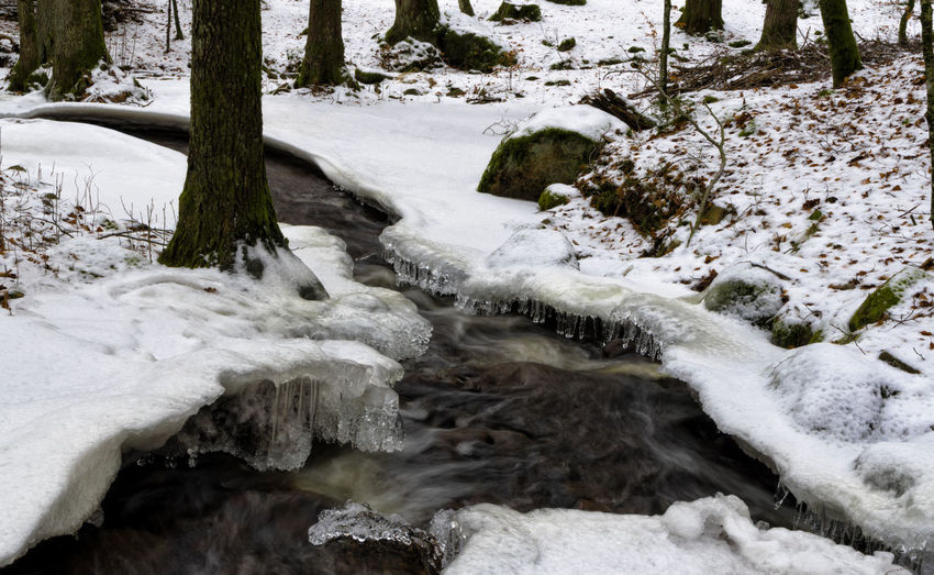 Winter landscape in Sweden Beauty In Nature Cold Temperature Day Flowing Flowing Water Forest Icicle Long Exposure Motion Nature No People Outdoors Plant River Rock Scenics - Nature Snow Stream - Flowing Water Tree Water Winter