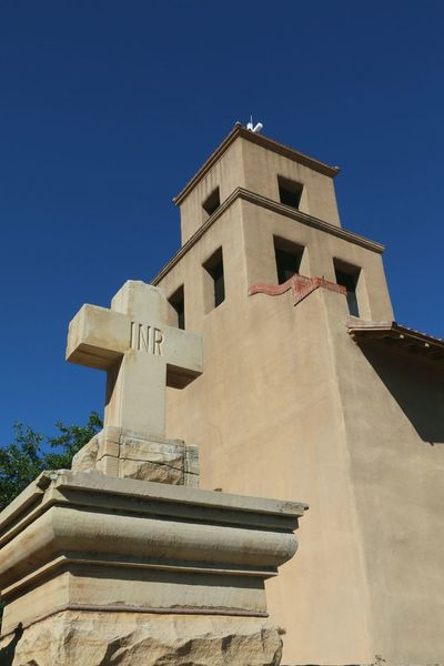 Cross Catholicism Shrine Sante Fe New Mexico Christianity City Blue History Place Of Worship Clear Sky Religion