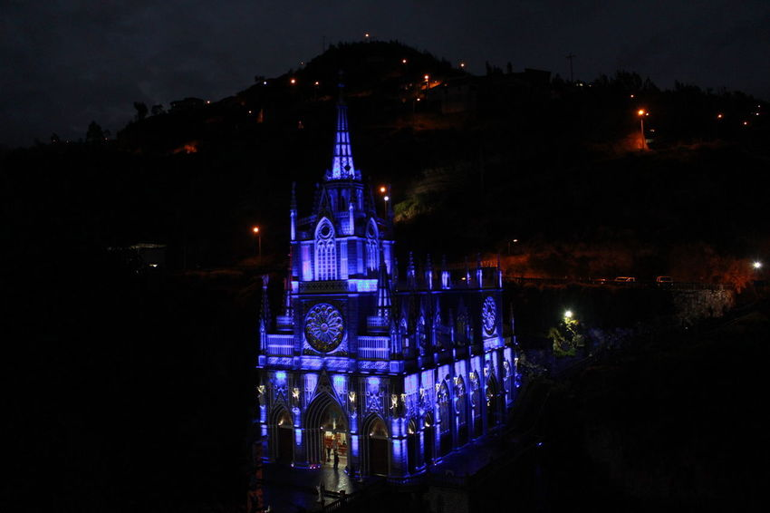 Catedral Las Lajas Cathedral Laslajas Light Blue Iglesia Luces Matices Night Photo Photography