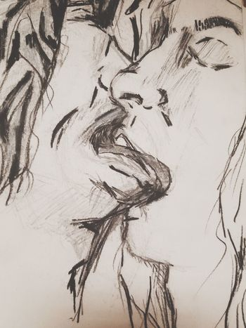 Arts Culture And Entertainment Female Drawings Drooling person Graphite Charcoal Graphite Art GraphitePencil ArtWork Creativity Art And Craft Nature History Ancient No People Architecture Sketch Close-up